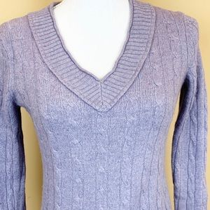 Loft Cable knit angora wool blend v-neck sweater